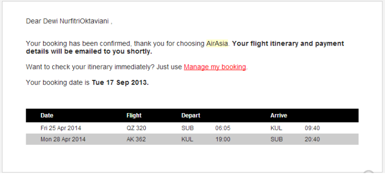 1 itinerary air asia