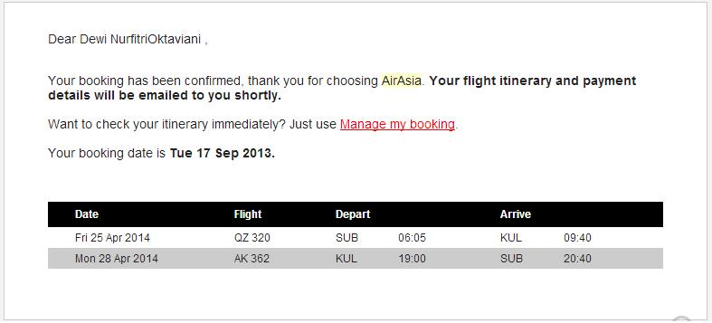1 itinerary air asia