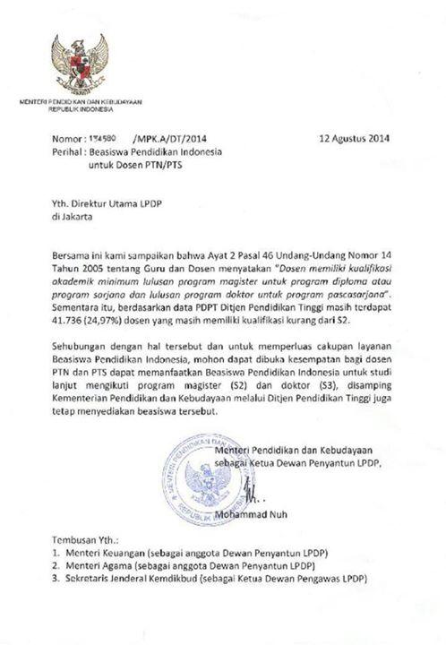Surat Edaran dari LPDP tentang Dosen/Calon Dosen kini bisa apply LPDP