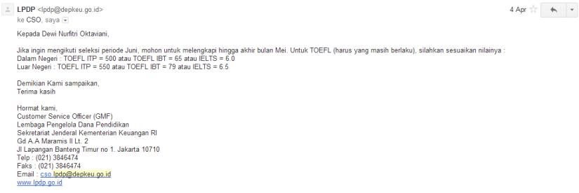 Capture jawaban dari panitia LPDP tentang ketentuan TOEFL