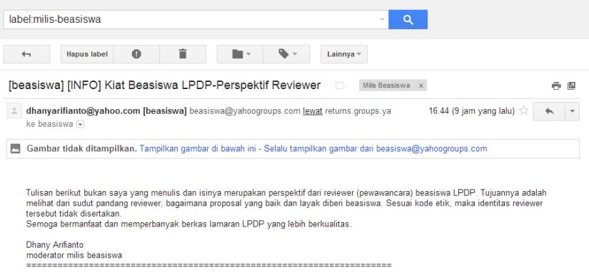 Capture gambar dari email saya.